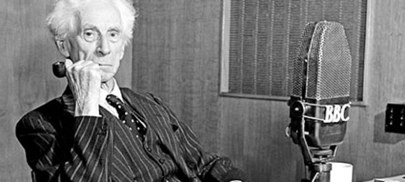 Bertrand Russell, BBC Radio station with pipe in hand